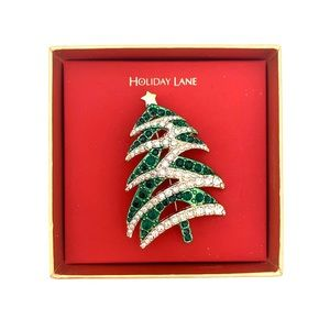 4/$25 Pine Tree Holiday Rhinestone Brooch Pin NEW